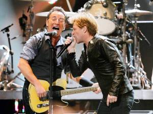 Bruce Springsteen and Jon Bon Jovi team at the 12-12-12 Sandy benefit concert