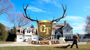 "UPDATE (4/1): The graphic for ""Casing Tail"". Just what I want to see on family-friendly television: a hunter dragging a deer carcass across someone's front lawn."