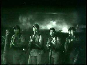 The grandiose battle scene from REVOLT OF THE ZOMBIES.