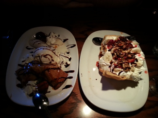 The tortilla sundae to the right, while the fried cheesecake is left.