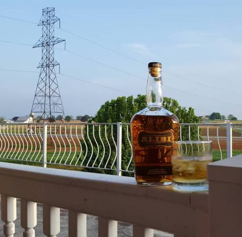 Sipping whiskey out on the deck of the Fulton Steamboat Inn in Lancaster, PA.